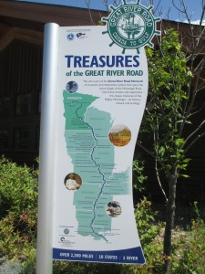 Great River Road display in Itasca State Park, the Mississippi River headwaters.